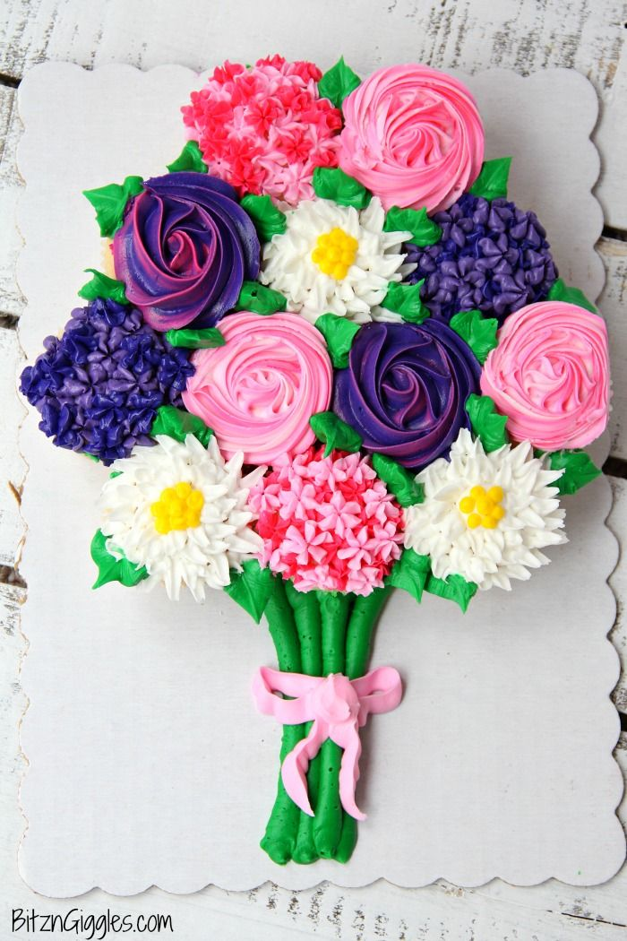 Mother's Day Cupcake Cake with Free Printable | Mothers ...