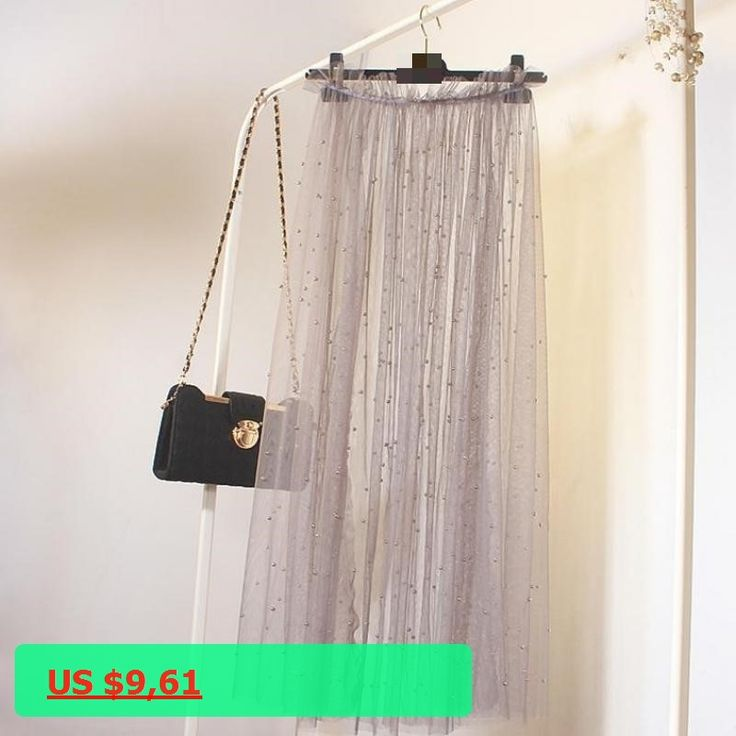 Perspective Tulle Skirt (popular This Year) Cheap Long Skirts High Waist Pleated Skirt free shipping 2018