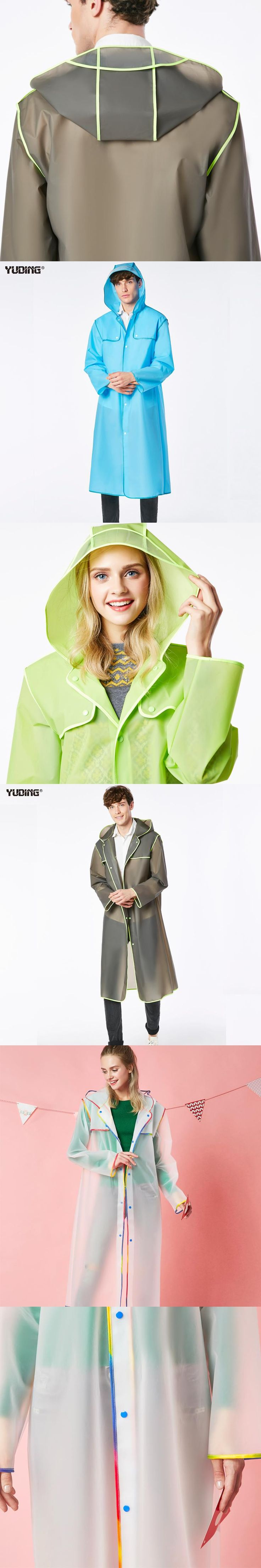 Long Raincoat EVA Thick Rainwear Universal Waterproof Poncho Hiking Tour Hooded Rain Coat Colorful Hem