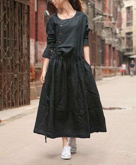Linen Dress Gown in Black / Custom Long Bridesmaid by camelliatune