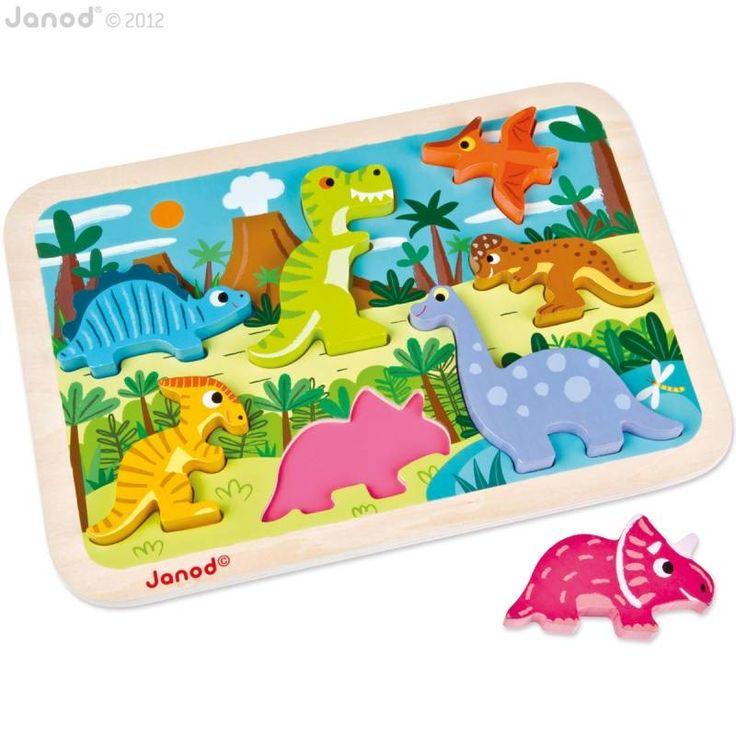 Houten inlegpuzzel Janod - Dinosaurussen