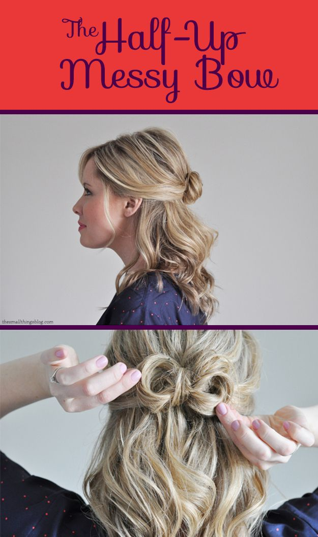 The Half-Up Messy Bow | 26 DIY Hairstyles Fit For A Princess