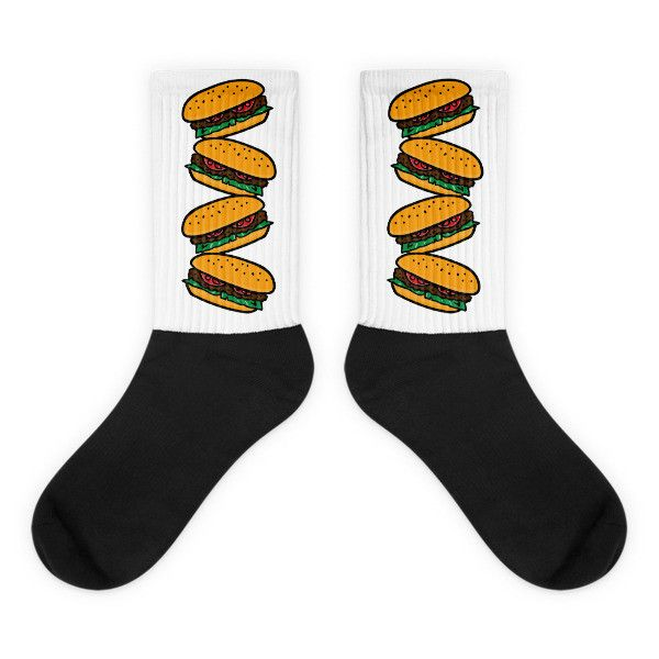 Burger - Black Foot Socks For Burger Lovers