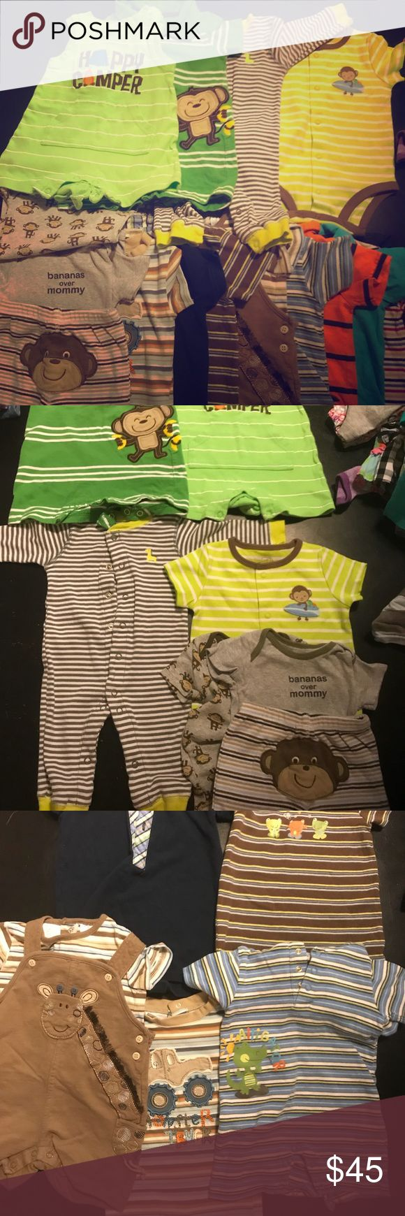 Lot of baby boys clothing 6-12 months Photo 2 six month Carter's rompers, photo 3 6 to 9 months rompers mixed brands, Photo 4 nine month rompers, photo 5 12 month onesie-14 outfits total Matching Sets