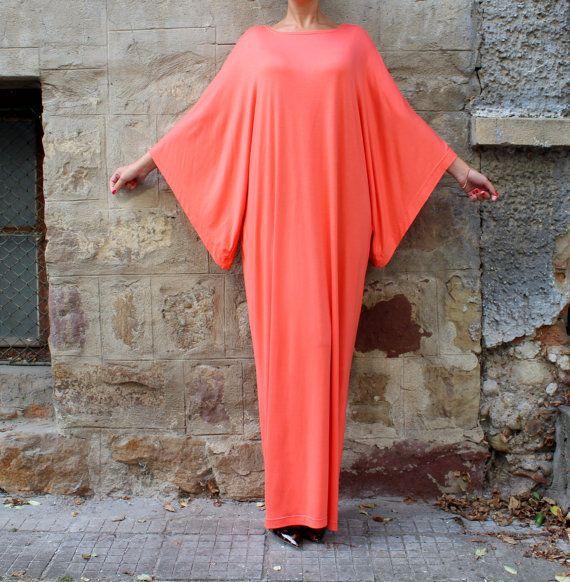Coral Maxi Dress Caftan Abaya Plus size by cherryblossomsdress