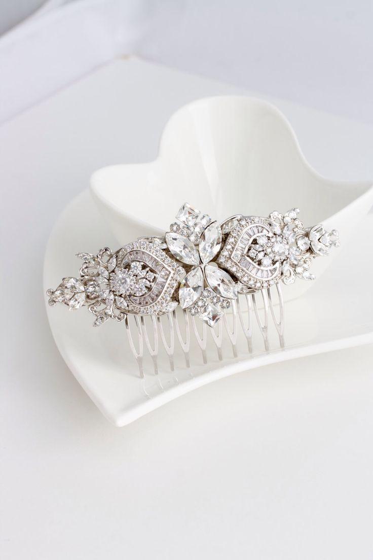 We wedding headpiece jewellery - Bridal Comb Crystal Hair Comb Rhinestone Headpiece Wedding Hair Accessories Swarovski Veil Clip Evie Deluxe By