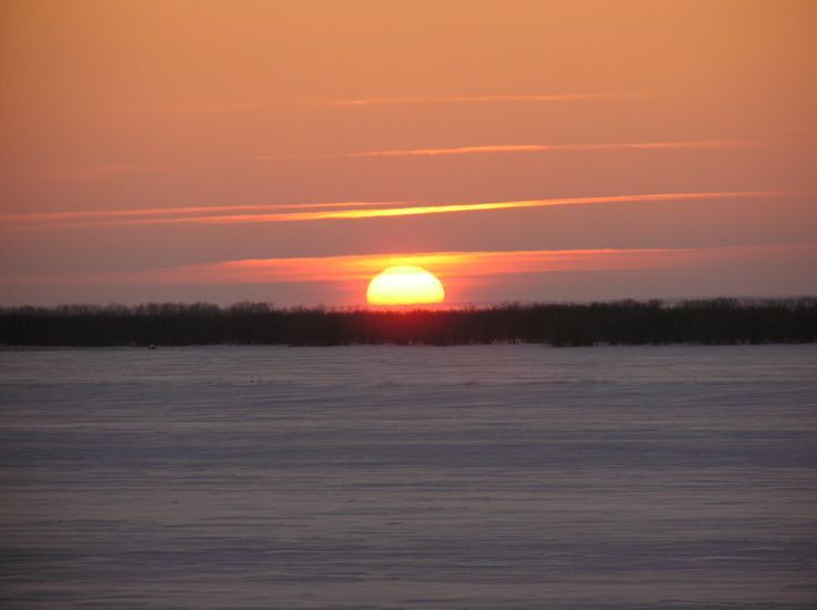 Салехард, река Обь, вечер, закат, солнце, зима 2014