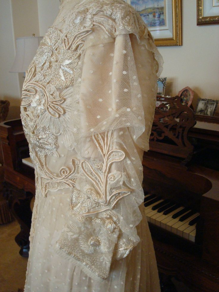 Up for your consideration is an antique silk and lace for Victorian lace wedding dress