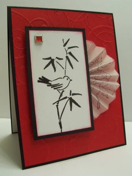 handmade card ... Asian theme ... Vellum Fan ...   clean and simple ... black, white and red ... bird on bamboo image ... like it!