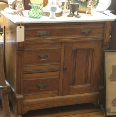 1800s victorian eastlake carved dresser with marble top for Tansu bathroom vanity