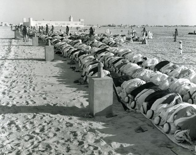 Outdoor prayer in Abu Dhabi, 1960