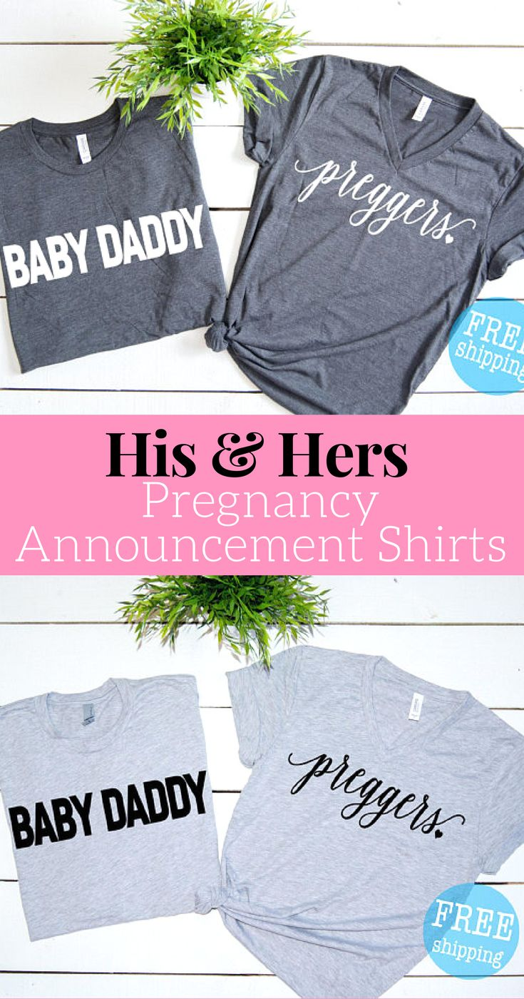 Matching Pregnancy Announcement shirts for future Dad and Moms.  Great gift idea, and fun for baby showers.  Preggers shirt + Baby Daddy, pregnancy announcement,Pregancy Shirt, Baby Announcement, Mommy life, Pregnancy announcement to husband #ad