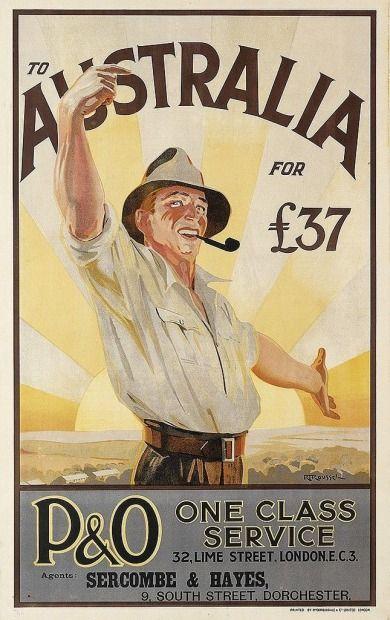 P&O ad to attract immigrants to Australia (circa 1930).
