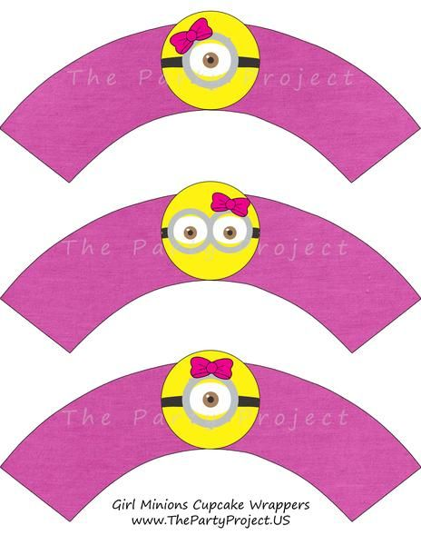 Pink Minion cupcake wrappers! This is totally a great addition to your Girl's Minion party decorations!