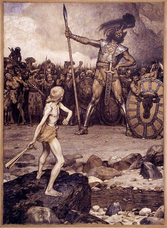 "David Prepares to Sling a Stone to Kill Goliath. - 1st Samuel 17:49, ""And David put his hand in his bag, and took thence a stone, and slang it, and smote the Philistine in his forehead, that the stone sunk into his forehead; and he fell upon his face to the earth. """
