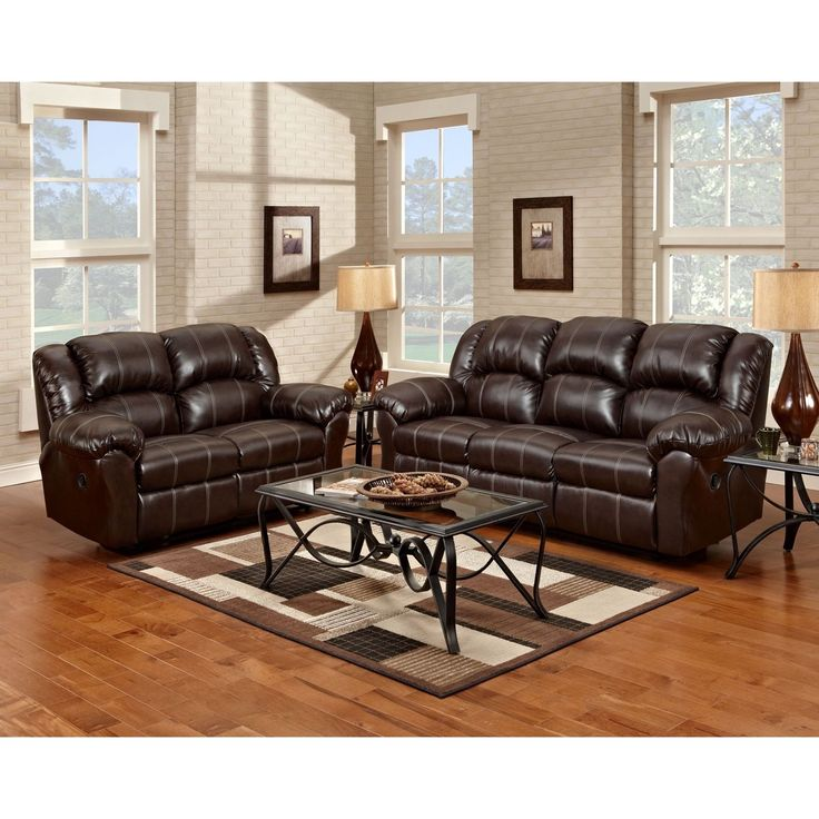 Brandan Bonded Leather Dual Reclining Sofa And Loveseat, Brown (Sofa  Loveseat Set, Brown