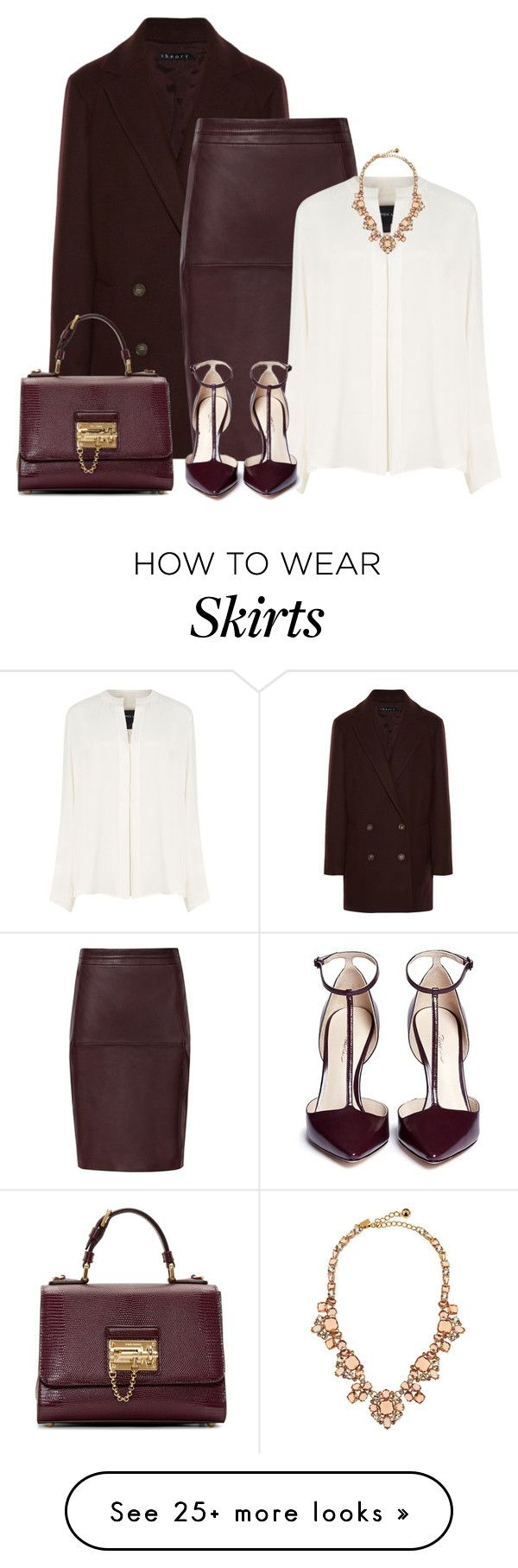 """""""Leather Skirt for Fall"""" by redchally on Polyvore featuring Theory, Derek Lam, Dolce&Gabbana, 3.1 Phillip Lim, Kate Spade and falloutfit"""