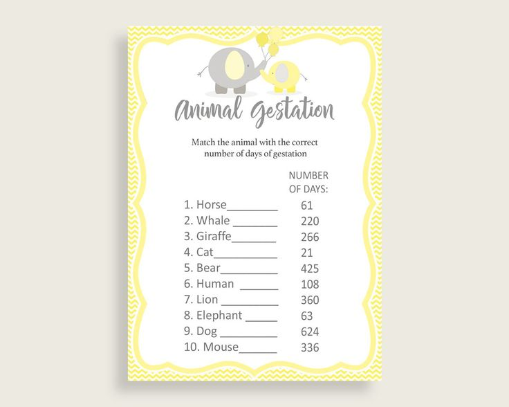 Animal Gestation Baby Shower Animal Gestation Yellow Baby Shower Animal Gestation Baby Shower Elephant Animal Gestation Yellow Gray W6ZPZ #babyshowergifts #babyshowerideas