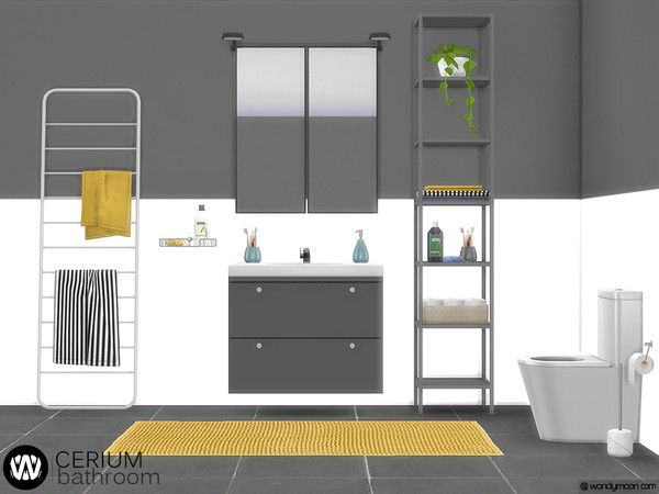 Cerium Bathroom Decorations by wondymoon for The Sims 4 | Sims 4