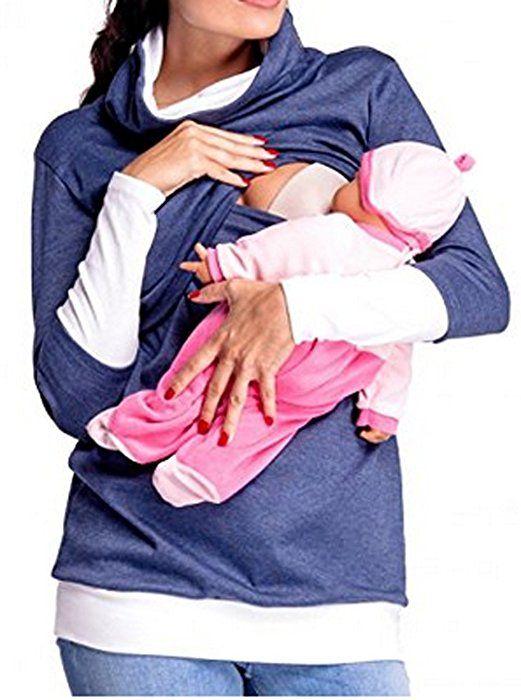 HOLLY Pregnant Women Long Sleeve Maternity Nursing Top Breastfeeding Shirt Blouse (Tag-S, Blue)