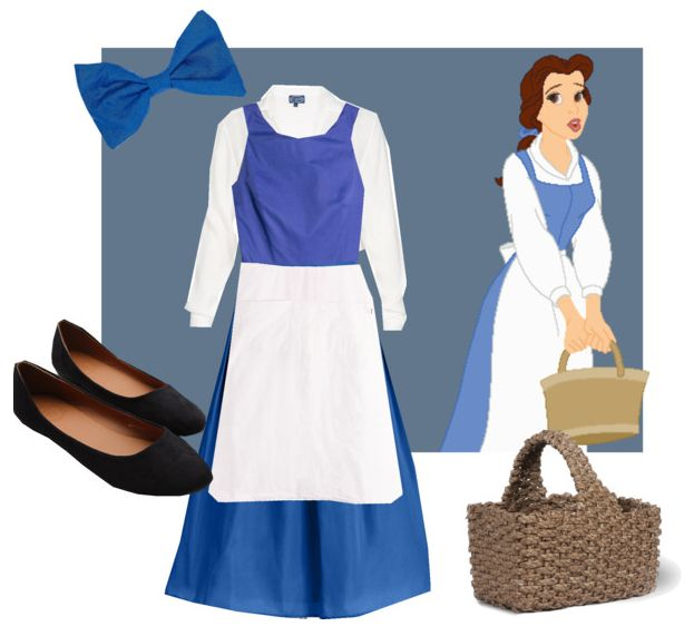 Belle cosplay for Halloween. Disney's Beauty and the Beast costume of Belle's blue peasant dress. Fashion created by jwalkasha on polyvore.com