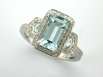 TANAKA' --  Vintage Style Aquamarine & Diamond Engagement Ring Custom made in 18ct White Gold with Halo Detail  -