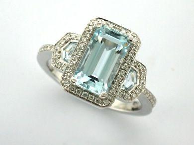 TANAKA' --  Vintage Style Aquamarine & Diamond Engagement Ring Custom made in 18ct White Gold with Halo Detail  -