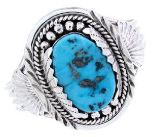 Navajo Sleeping Beauty Turquoise Sterling Silver Cuff Bracelet AW64893 SilverTribe. $379.99