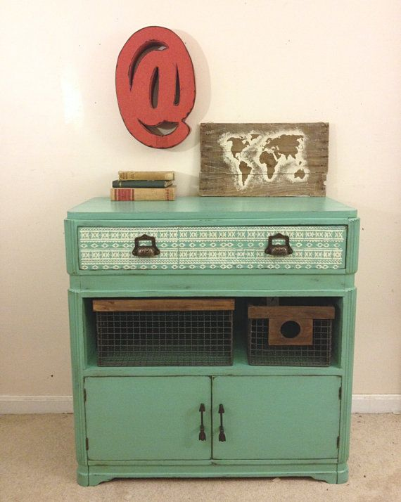 Rustic Turquoise and White Dresser, Southwestern, by FurnitureAlchemy, Painted Furniture Ideas, Painted Dresser Ideas, Turquoise Dresser, Southwestern Decor, Stenciled Dresser, Turquoise and White