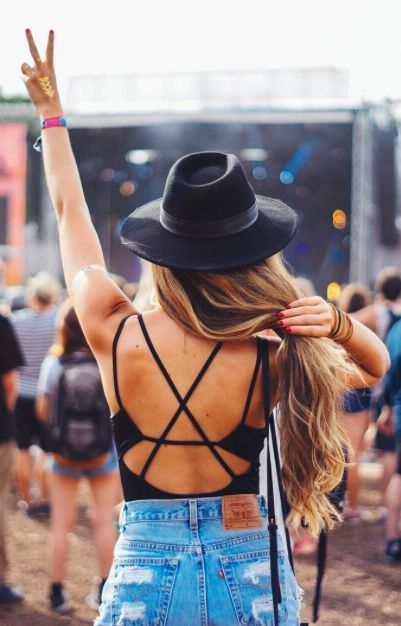 Strappy backs, high waisted denim, and fedora because it