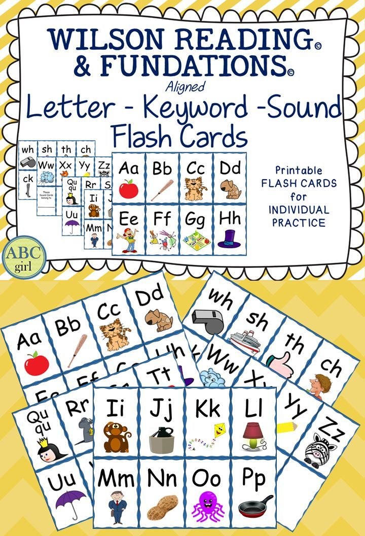 Wilson Reading and Wilson Fundations Alphabet Sound Cards   These flashcards are a perfect tool for parents to use to reinforce the letters, keywords, and sounds that are being taught during your Fundations and Wilson Reading lessons!   Included in this pdf. file are student sized flashcards for consonants, vowels, and digraphs--ready to print, cut and send home!