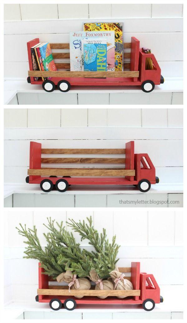 DIY truck bookshelf with free plans.  Build a truck shaped shelf.