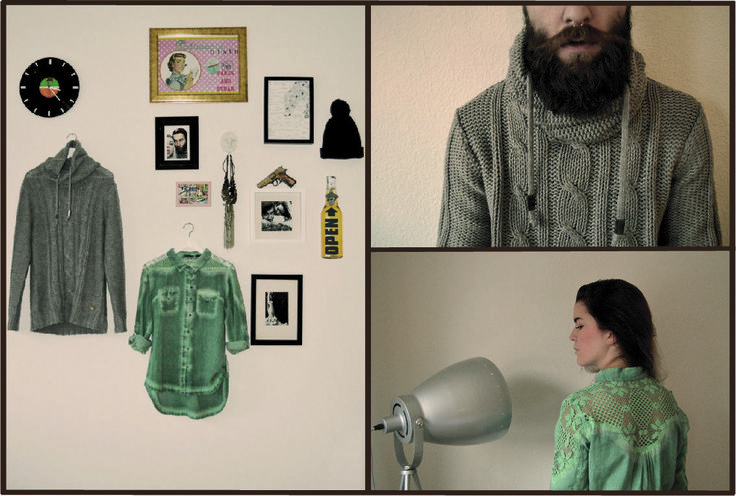 #interior #decoration #grey #brown #lace #knit #blouse #sweater #gun #hat #pictures #beard #septum