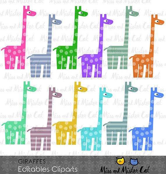 ON SALE Giraffes Cliparts. Giraffes vector by MissAndMisterCat
