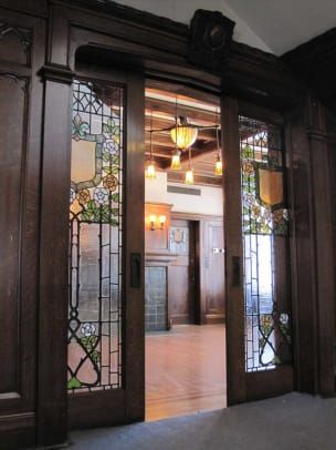 hotel door Pocket doors at the Glossbrenner Mansion in Indianapolis, which was designed by English architect Alfred Grindle, was built in Sliding Pocket Doors, House Design, Arts And Crafts House, Unusual Homes, Glass Pocket Doors, Double Doors, Hotel Doors Design, Fantasy House, Hotel Door