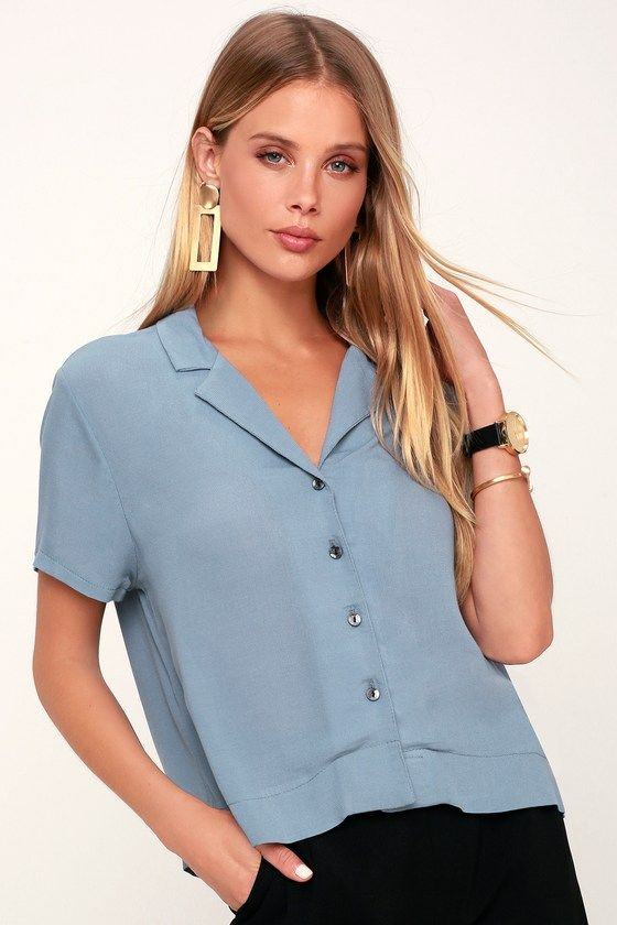 9544f2b9a2fa2 Get your daily dose of darling with the Lulus Liora Slate Blue Button-Up  Crop Top! Cute button-up top with a collared neckline