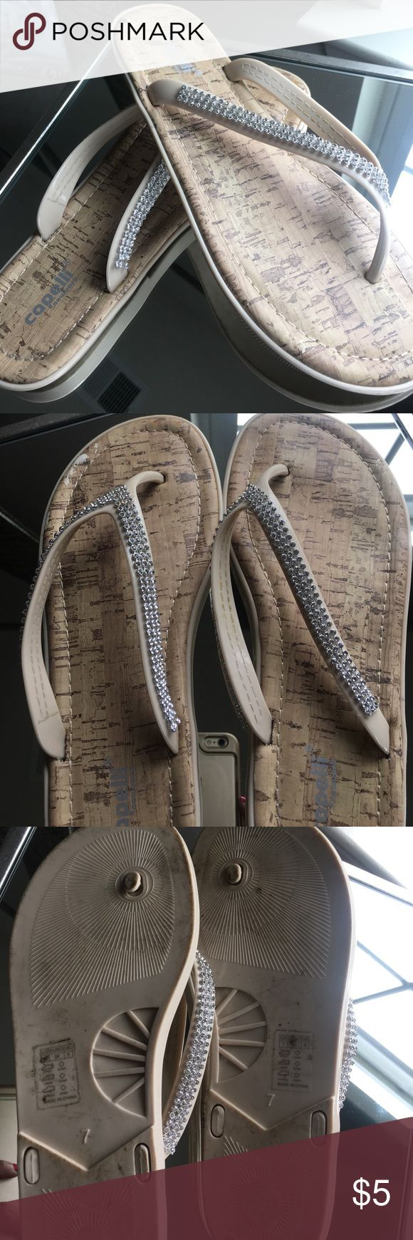 Crystal flip flops Capelli Beige crystal flip flops Capelli of New York Shoes Sandals