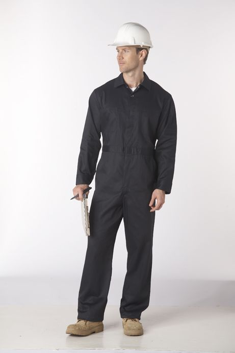 Zip Front Coverall 7.5oz 65/35 poly-cotton : Lightweight, easy-on and easy-off coverall recommended for anyone who is working in a yard, around cars, or any sort of activity where you dont want to damage or soil your clothes. Features 2 top front pockets, 2 lower back patch pockets and 2 lower front slant pockets as well as a tool and pen pocket. Includes side access openings and action back