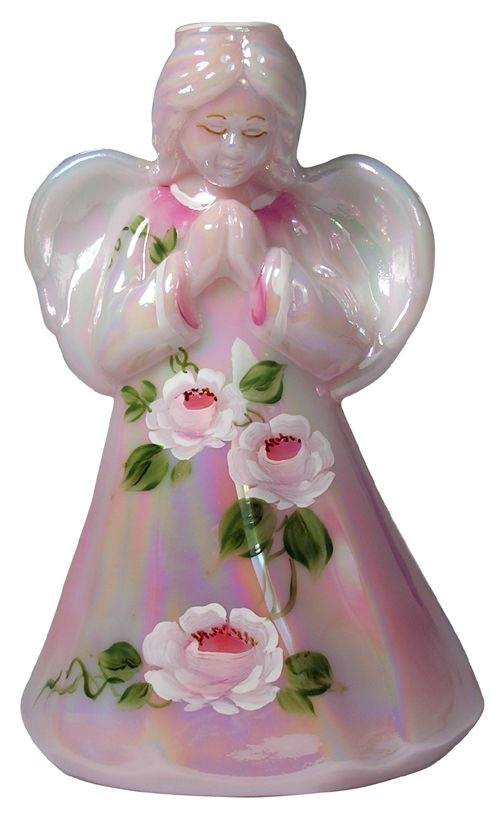 Handpainted Fenton glass angel