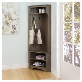 Bring organization to one of the busiest areas of the home with the Prepac Corner Hall Tree. This organizer has a compact functional design that is ideal for tight entryways, hallways, mudrooms, etc. A row of 4 hooks keeps scarves, jackets, umbrellas at hand and the 3 compartments are a convenient spot for storing baskets, shoes, keys, mail and any other entryway clutter.
