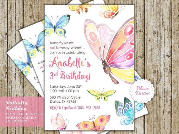 Butterfly Birthday Invitation Kisses And Wishes Party Digital Printable Invites In 2018