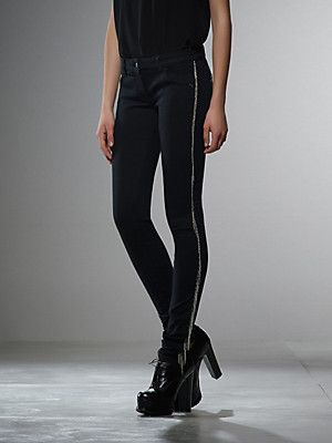 Buy Skinny 5 pocket stretch denim jeans, piece dyed, bando on sides, with micro chains, with metal fly detail, Precious Fly series