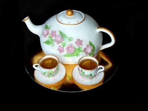 Торт чайник из мастики. Подробный МК - Teapot Cake -Torta de la masilla - YouTube
