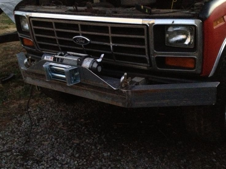 Ford bronco with custom winch bumper