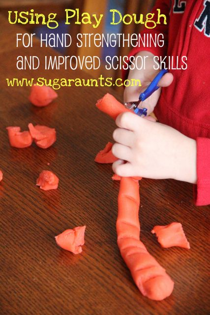 By The Sugar Aunts: Use #Playdough to address #scissorskills: Bilateral hand coordination, line awareness, strengthening, scissor positioning, open/shut motion. And, it's just fun :)