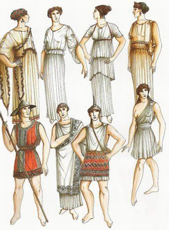 Ancient Greek clothing - the #chiton eventually evovled into the 19th century #fustanella worn by many #greeks of the war of independence from #OttomanOccupation