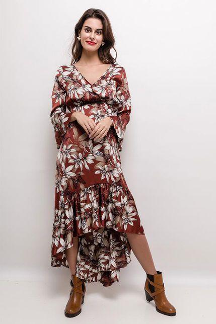 752a6775d9d4 Elegantné asymetrické šaty s kvetinovým vzorom