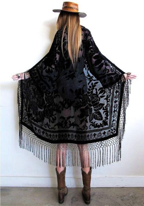 black floral fringe kimono #obsession