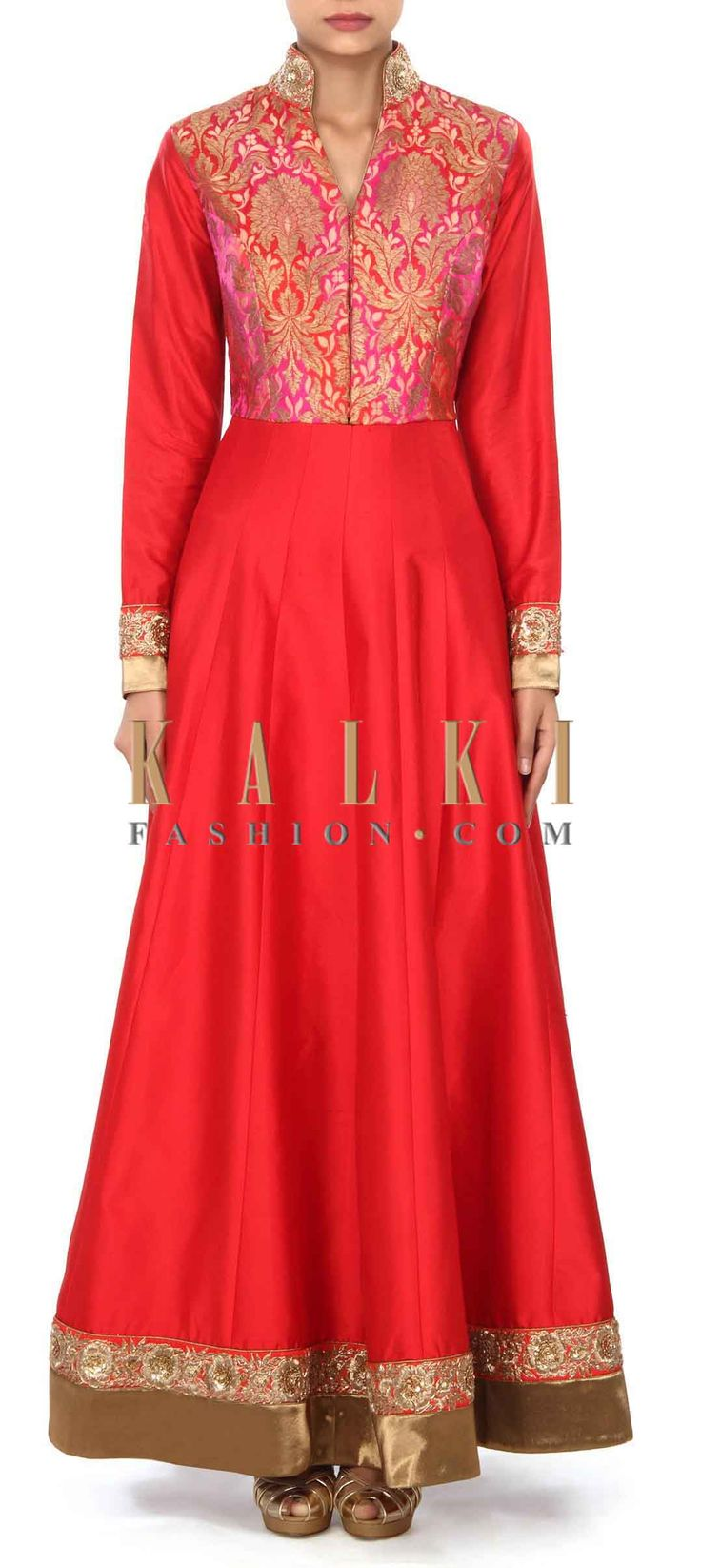 Buy this Red gown in brocade with embroidered collar only on Kalki