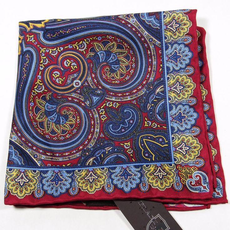 BLACK BROWN 1826 Joseph Abboud Paisley Pattern Silk Pocket Square Red/Multi NWT #BlackBrown1826CollectionbyJosephAbboud #PocketSquare
